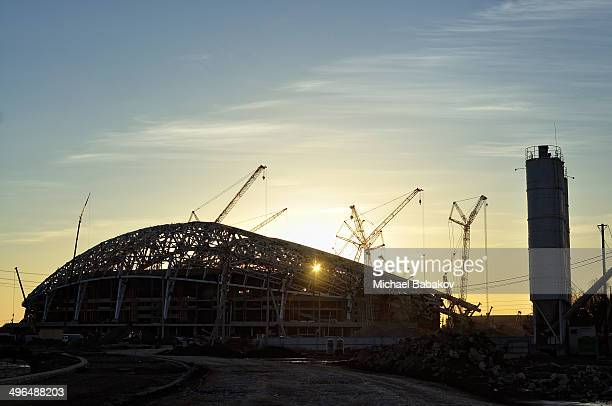 """Construction of the Olympic Stadium """"Fischt"""" in the coastal cluster. Sochi, Russia."""