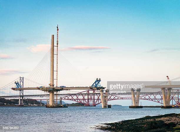 construction of the queensferry crossing over the firth of forth - civil engineering stock pictures, royalty-free photos & images