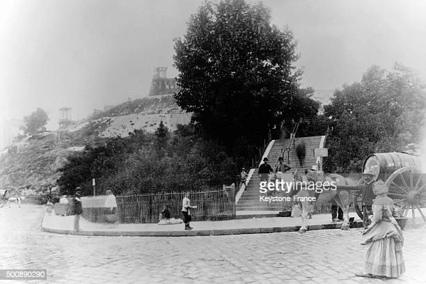Construction of the SacréCoeur basilica in the Montmartre neighbourhood circa 1875 in Paris France