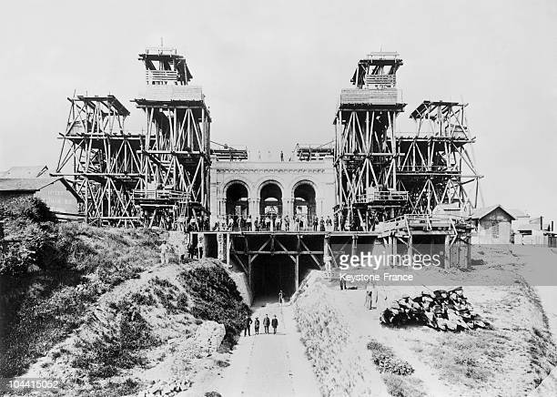 Construction of the SACRE COEUR Basilica at Montmartre in Paris around 1900