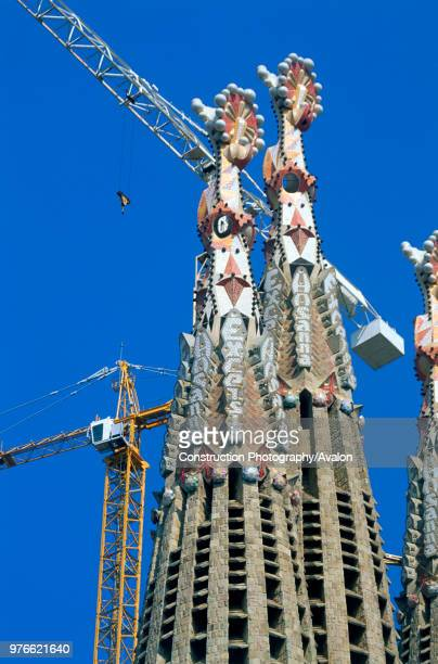 Construction of the Sagrada Familia cathedral Barcelona Catalunya Spain Cathedral designed by Antonio Gaudi