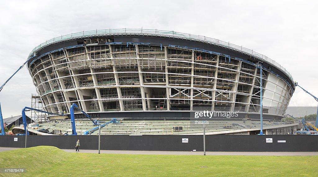 Construction of the Scottish Hydro Arena, Glasgow : Stock Photo