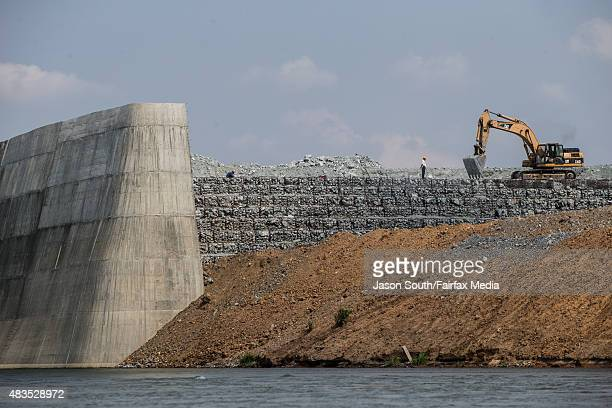 Construction of the Sesan 2 dam is seen on May 7 2015 in Stung Treng Cambodia Conservationists and politicians are warning the quest for hydropower...