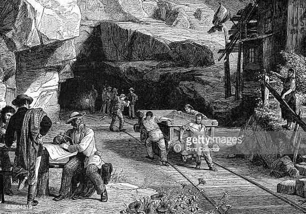 Construction of the St Gotthard Tunnel beneath the Alps, 1880. The tunnel was built to link Italy and Switzerland by rail. Workmen from the two ends...