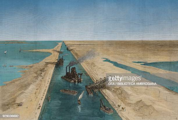 Construction of the Suez Canal near El Kantara Egypt illustration from the magazine The Illustrated London News volume LIV March 20 1869 Digitally...