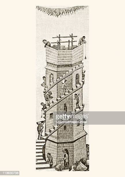 Construction of the Tower of Babel in the Valley of Sanaar by the descendants of Noah After a miniature from a manuscript of the 15th century From...