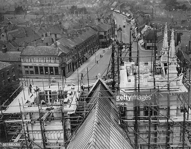 Construction of the two new West towers of the Selby Abbey 26th July 1935 Photograph