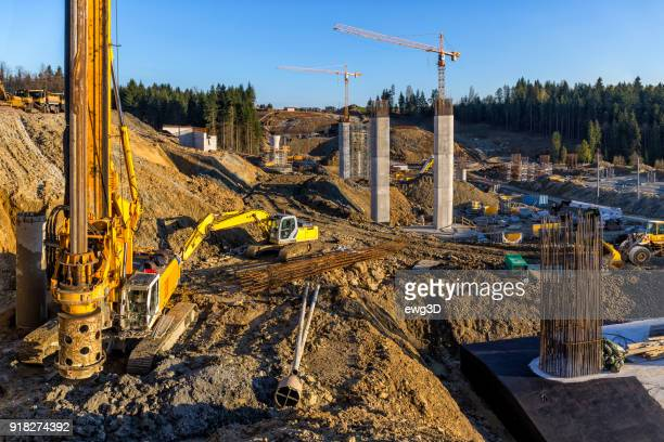 construction of the viaduct on the new s7 highway, luban, poland - bridge built structure stock pictures, royalty-free photos & images