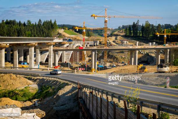 Construction of the viaduct on the new S7 highway, Skomielna Biala, Poland
