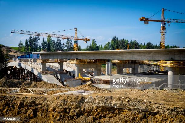 construction of the viaduct on the new s7 highway, skomielna biala, poland - bridge built structure stock pictures, royalty-free photos & images