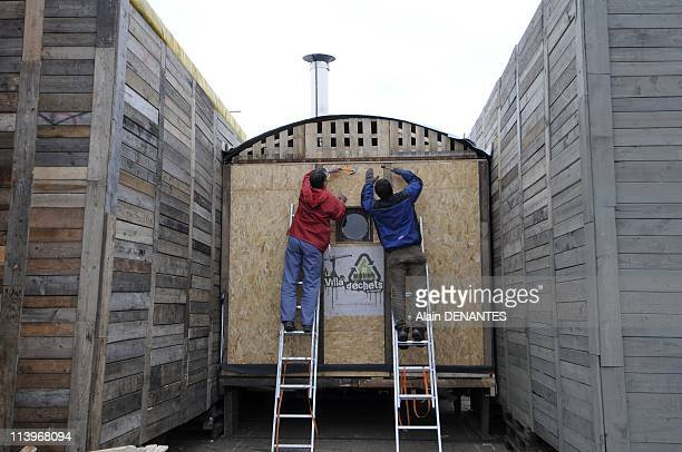 """Construction of the Villa Dechets in Nantes, France on December 03, 2010-The """"Villa Dechets"""" is the first architect-designed house in France made..."""