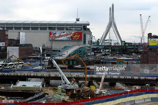 Construction on Boston's Interstate 93 surrounds the Fleet Center site of this summer's Democratic National Convention April 5 2004 in Boston...
