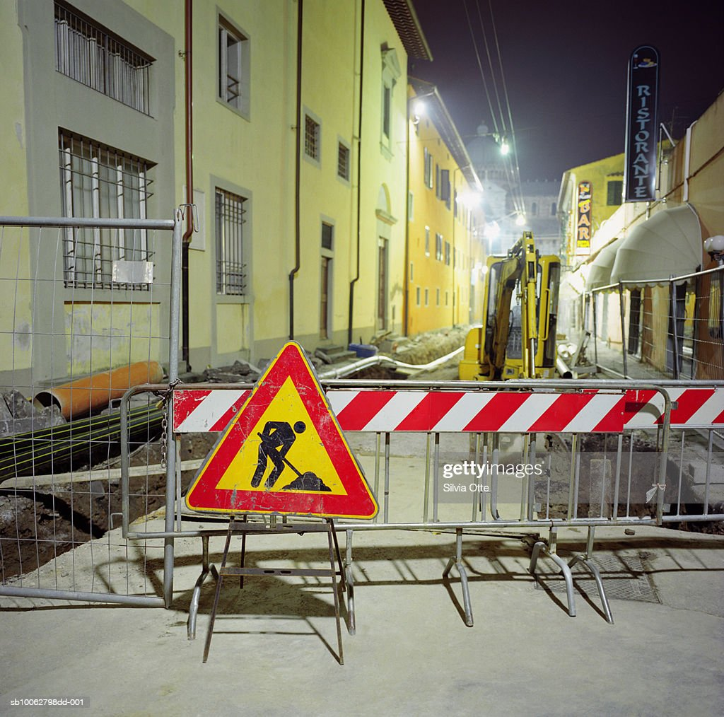 Construction on street, night : Stock Photo