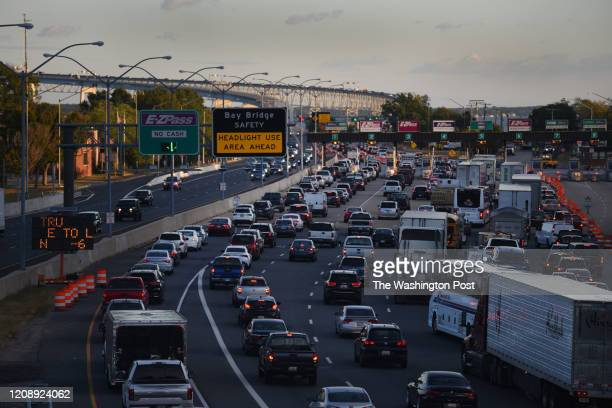 Construction on the Bay Bridge has resulted in chronic traffic and lane closures, like this traffic jam in Annapolis, Maryland on October 10, 2019.