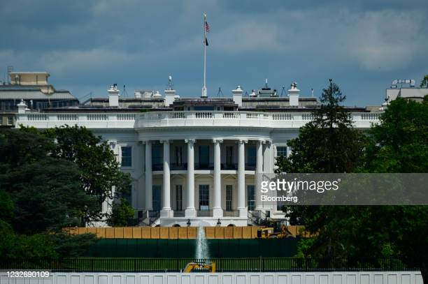 Construction on the South Lawn of the White House in Washington, D.C., U.S., on Tuesday, May 4, 2021. The fate of President Biden's $4 trillion...