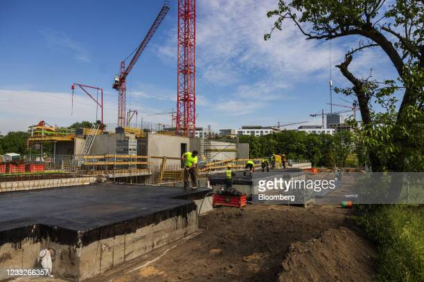 Construction prepare foundations on a residential apartment construction site, on a plot of brownfield land in the Vysoany district in Prague, Czech...