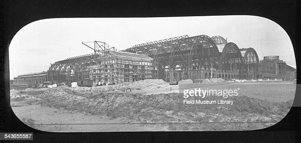 Construction scene showing the Machinery Hall building construction and Pump House Station building at the World's Columbian Exposition Chicago...