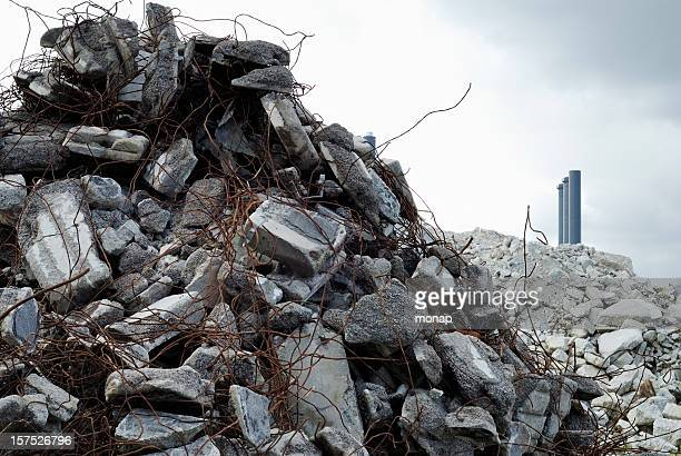 construction scrap, chimneys in the background - rubble stock pictures, royalty-free photos & images