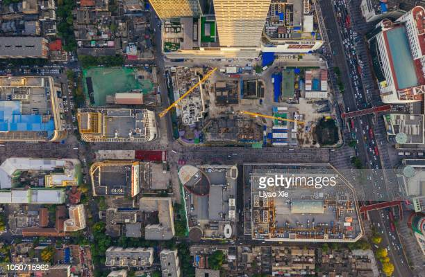 Construction site aerial view