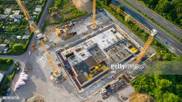 construction site and equipment - aerial view - construction site stock pictures, royalty-free photos & images