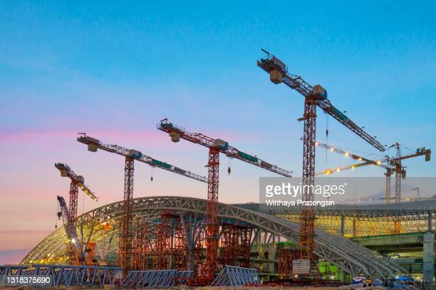 construction site and sunset , structural steel beam build large residential buildings at construction site . - south east asia stock pictures, royalty-free photos & images
