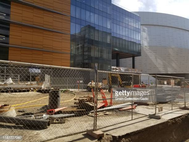 Construction site at Chase Center, the new home of the Golden State Warriors basketball team in the Mission Bay neighborhood of San Francisco,...