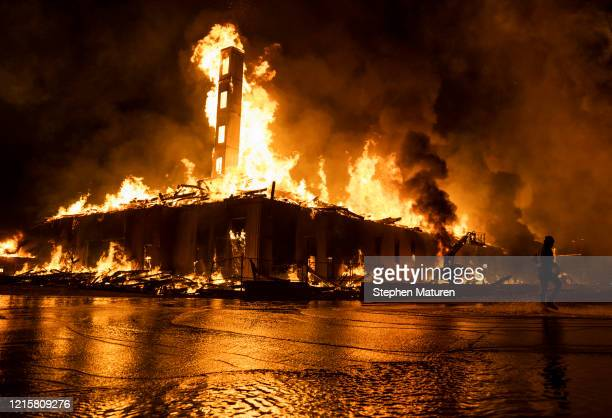 Construction site burns in a large fire near the Third Police Precinct on May 27, 2020 in Minneapolis, Minnesota. A number of businesses and homes...
