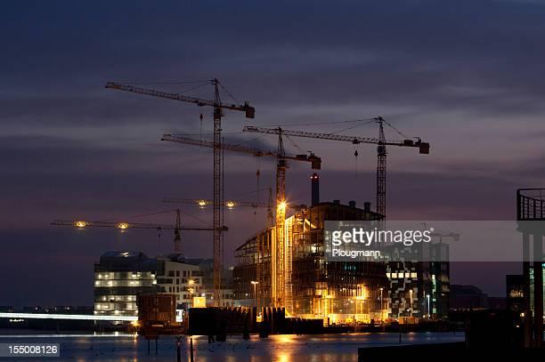 Chantier de Construction de nuit de Ville de Copenhague
