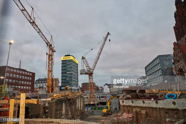 construction site centrally in odense city - istock photo stock pictures, royalty-free photos & images