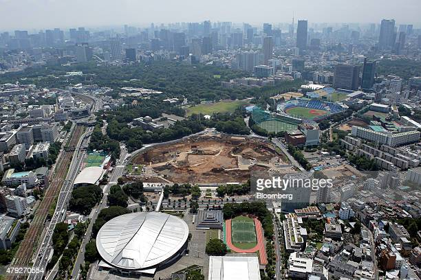 A construction site for a new stadium to replace the National Olympic Stadium center is seen in this aerial photograph taken in Tokyo Japan on...