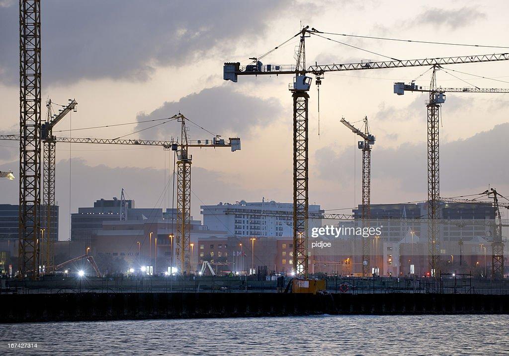 construction site in Dubai Creek at dawn : Stock Photo