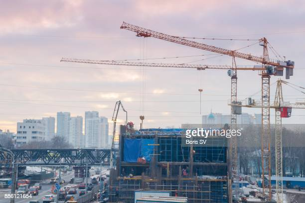 Construction site in evening Moscow