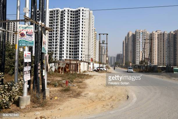 Construction site in Noida short for the New Okhla Industrial Development Authority It is an extension of Delhi the capital of India on January 7...