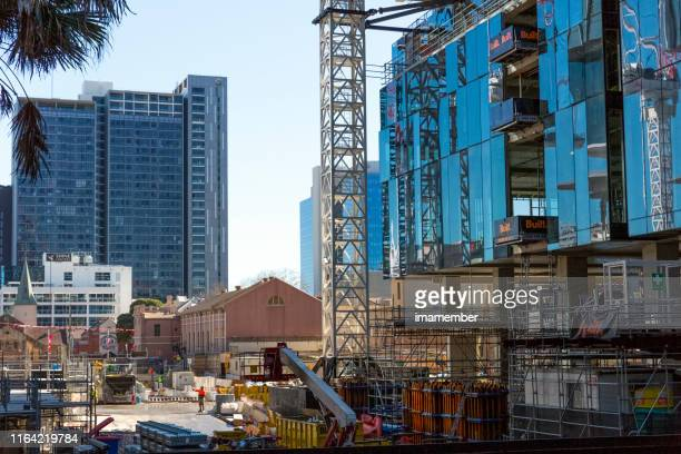 construction site in parramatta cbd, australia, background with copy space - foundation make up stock pictures, royalty-free photos & images