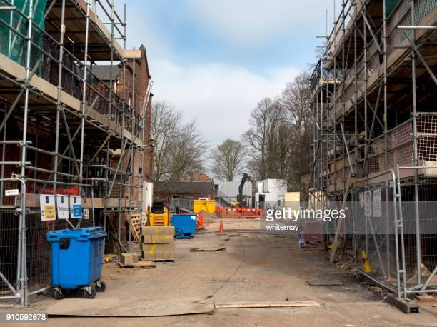 Baustelle in Sudbury, Suffolk, an einem Wintertag
