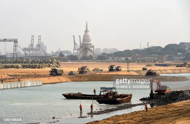 A construction site of a Chinesefunded 14 billion USD land reclamation project is pictured in Colombo on January 16 2019 A Chinese stateowned company...