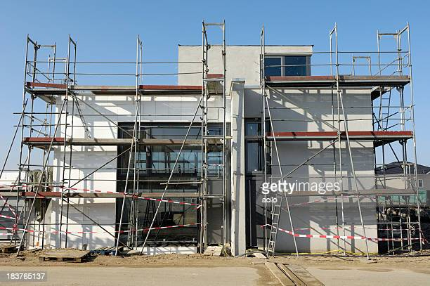 Construction site of a modern fashionable one family house