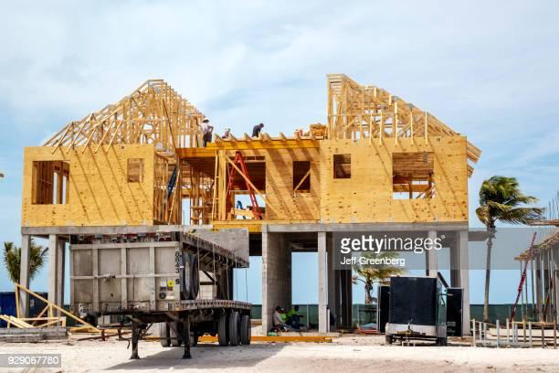 A construction site of a new beachfront home on Estero Island