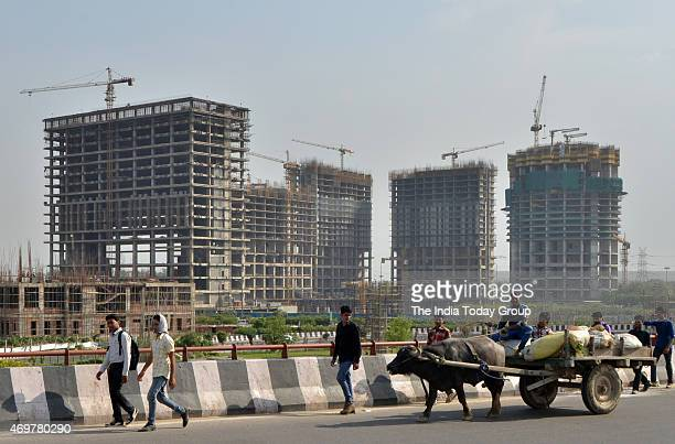 A construction site of a residential complex in Noida
