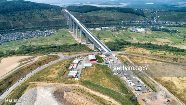 construction site of hochmoselbruecke b50, bridge over mosel valley - moselle stock pictures, royalty-free photos & images