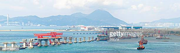construction site of hong kong zhuhai macau macao - maca plant stock photos and pictures