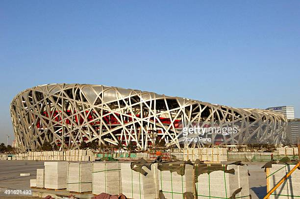 Construction site of the Bird's Nest Beijing's National Stadium which will host the Opening and Closing ceremonies of the 2008 Beijing Summer Olympics