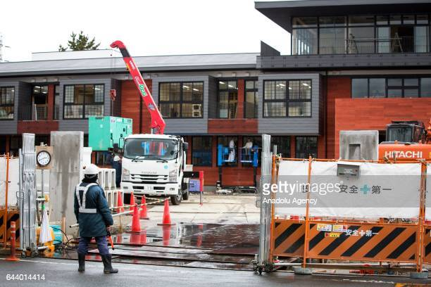 Construction site of the new Moritomo Gakuen's elementary school in Toyonaka Osaka Prefecture Japan on February 23 2017 Japanese Prime Minister...