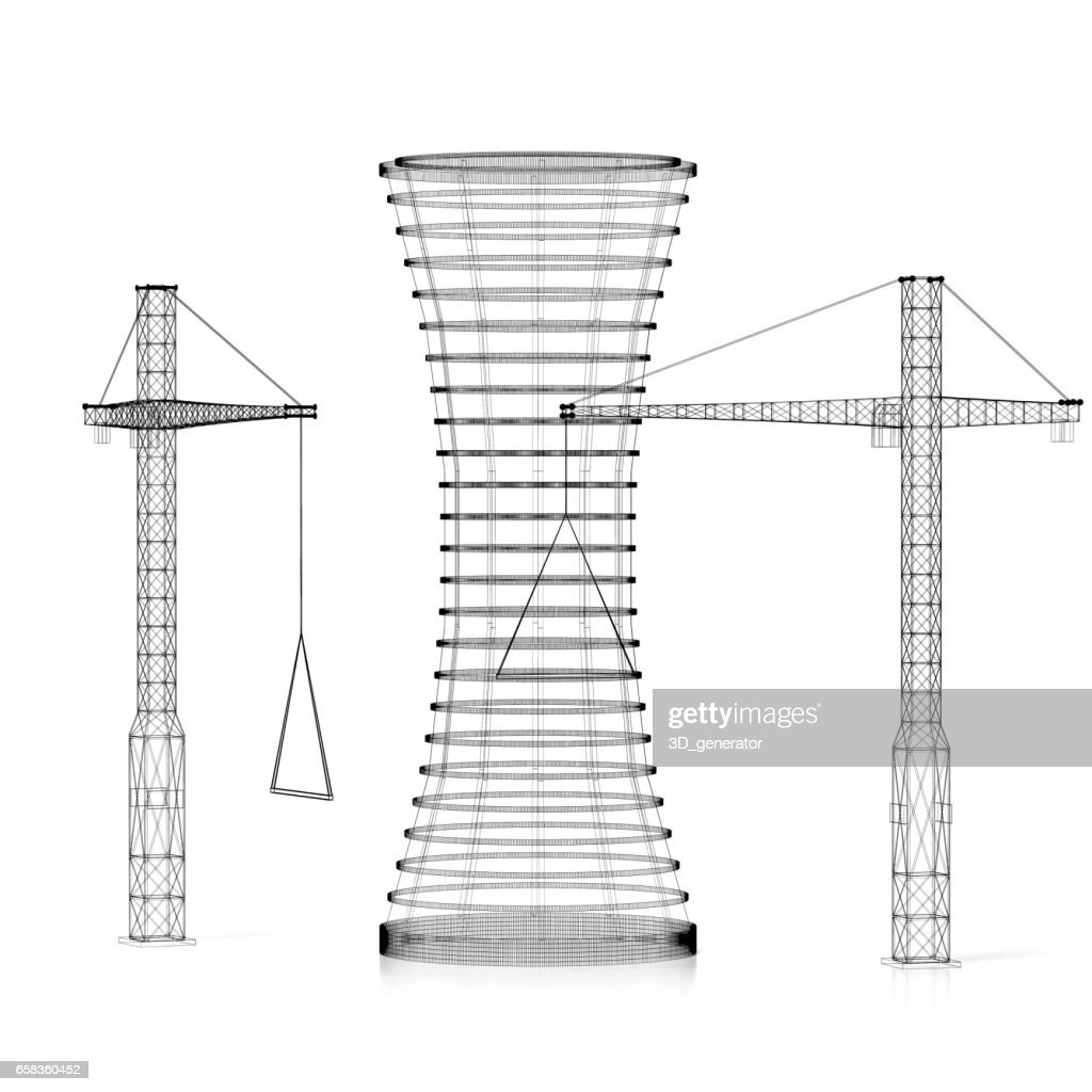 3d construction site office building wireframe stock photo getty