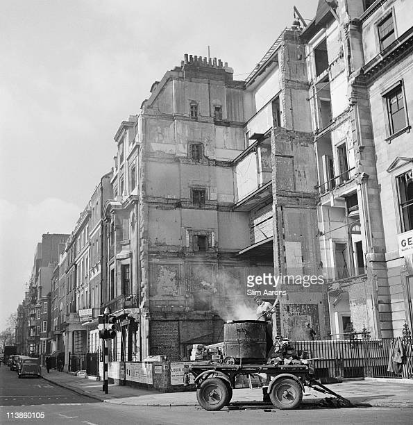 A construction site on Upper Brook Street in London 1955