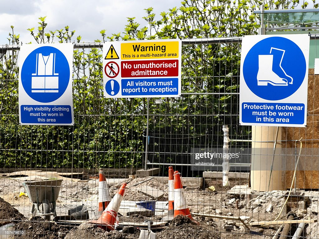 Construction site warning signs : Stock Photo