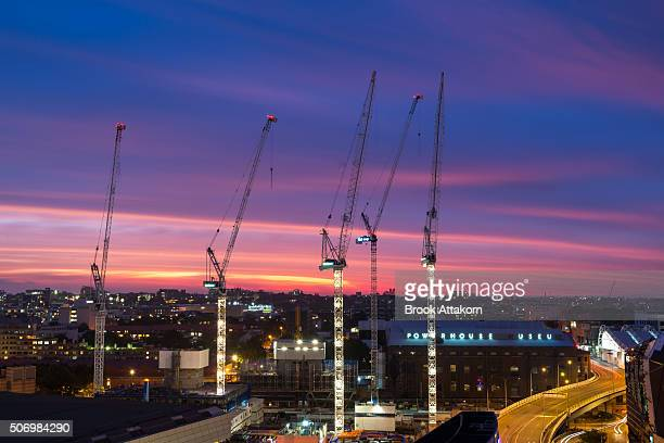 Construction site with cranes in Beautiful sky