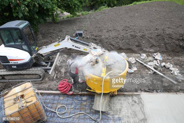 Construction site Worker making concrete France