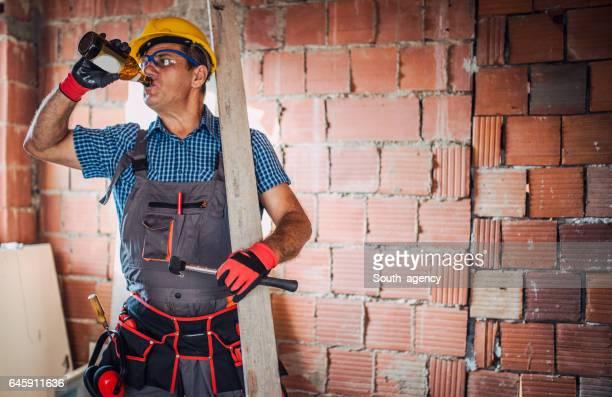 Construction site worker on a break