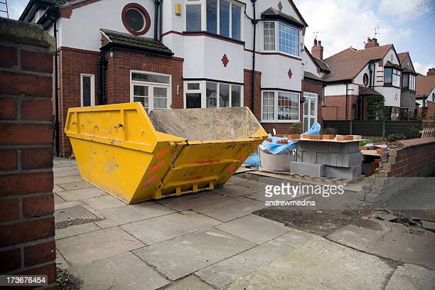 construction site/home extension-see lightbox below for similar - garbage bin stock pictures, royalty-free photos & images